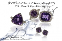 Amethyst collection and silver rings and earrings