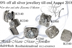 fashionable large silver and cubic zirconia rings in big sizes