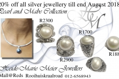 blue and white mabe rings and pendants in silver